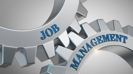 Job management written on gear wheel Stockfoto