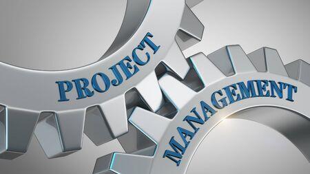 Project management written on gear wheel Stockfoto