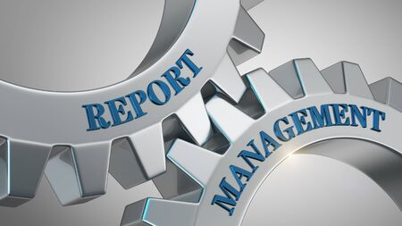 Report management written on gear wheel Stockfoto