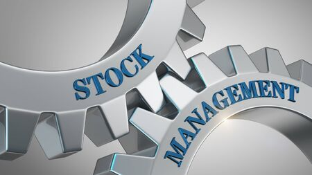 Stock management written on gear wheel Stock Photo