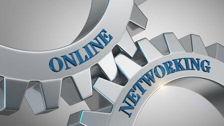Online networking concept. Online networking written on gear wheel
