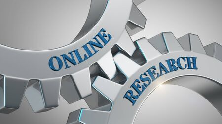 Online research concept. Online research written on gear wheel