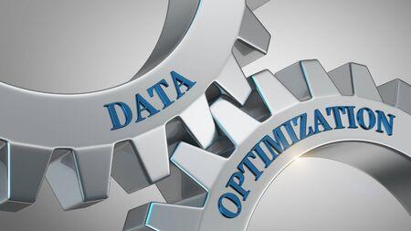 Data optimization concept. Data optimization written on gear wheel