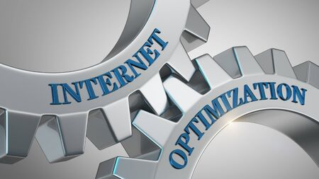 Internet optimization concept. Internet optimization written on gear wheel Stok Fotoğraf