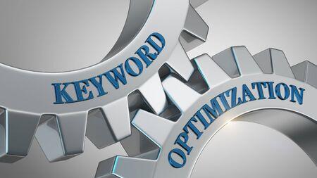 Keyword optimization concept. Keyword optimization written on gear wheel