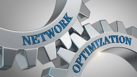 Network optimization concept. Network optimization written on gear wheel