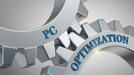 Pc optimization concept. Pc optimization written on gear wheel