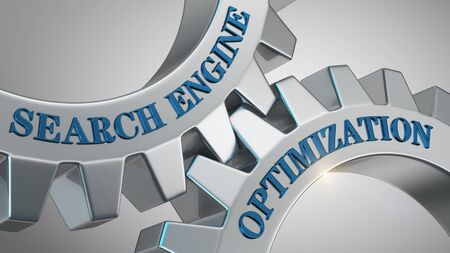 Search engine optimization concept. Search engine optimization written on gear wheel 写真素材