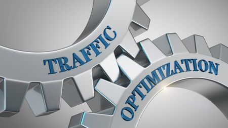 Traffic optimization concept. Traffic optimization written on gear wheel
