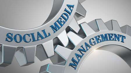 Social media management written on gear wheel