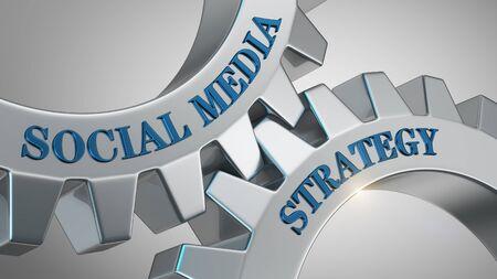 Social media strategy written on gear wheel