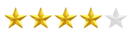 Product rating or customer review with gold stars.