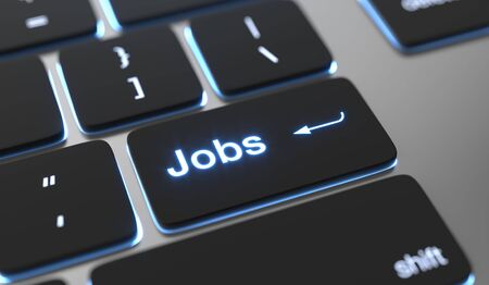 Jobs text on keyboard button.
