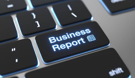 Business report text written on keyboard button.