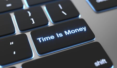 Time is money text written on keyboard button.