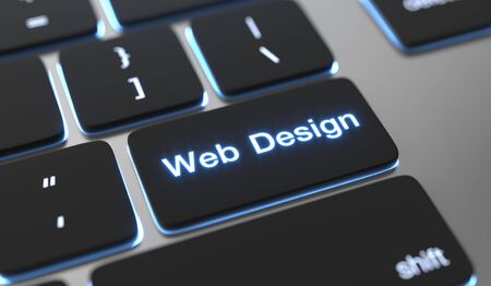 Web design text written on keyboard button.