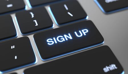 Sign up text written on keyboard button. 스톡 콘텐츠