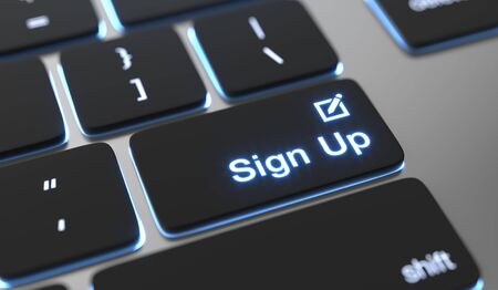 Sign up text written on keyboard button. Zdjęcie Seryjne