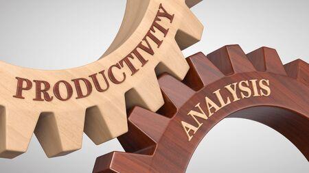 Productivity analysis written on gear wheel Imagens