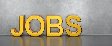 Jobs 3d text on concrete background