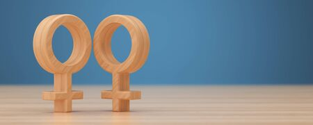 Wooden lesbian symbol 3d render.