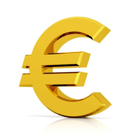 Gold 3d euro sign isolated on white background.