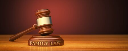 Family Law. Gavel and word Family on sound block 스톡 콘텐츠