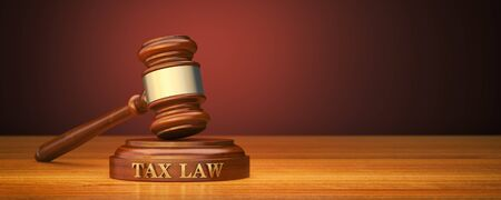 Tax Law. Gavel and word Tax on sound block 스톡 콘텐츠 - 148901067