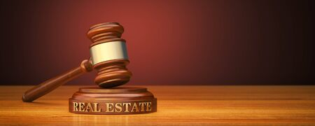 Real estate Law. Gavel and word Real estate on sound block 스톡 콘텐츠