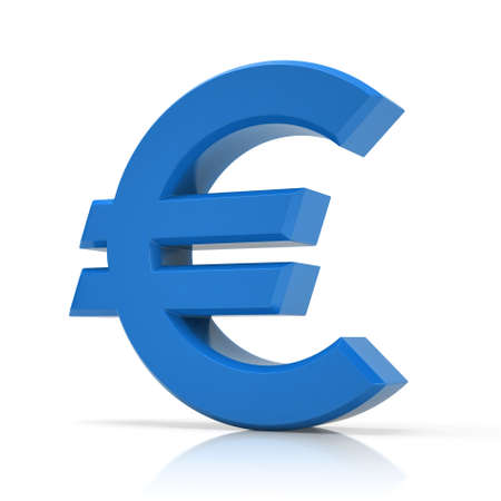 Blue 3d euro symbol isolated on white background.