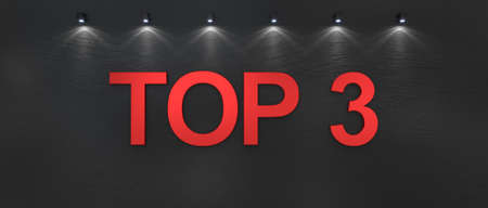 Top 3 word on black background. 3d render Фото со стока