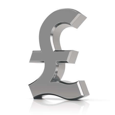 Silver pound symbol. British pound sign isolated on white background.