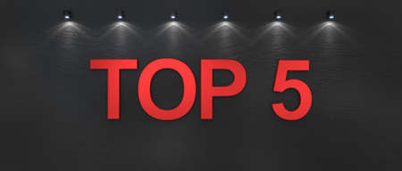 Top 5 word on black background. 3d render Фото со стока