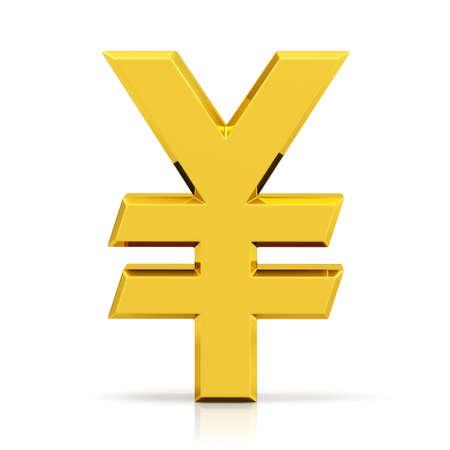 Gold yen symbol. Japanese yen sign isolated on white background.