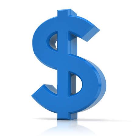 Blue dollar symbol. US dollar sign isolated on white background.