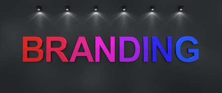 Branding written on black grunge wall with colorful 3d letters.