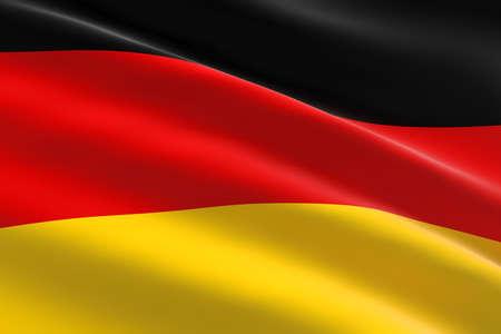 Flag of Germany. 3d illustration of the German flag waving.