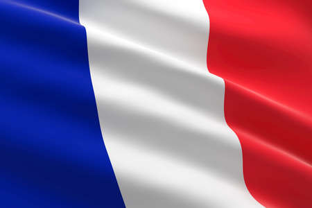 Flag of France. 3d illustration of the French flag waving.