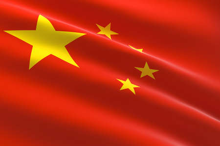Flag of China. 3d illustration of the Chinese flag waving. 스톡 콘텐츠
