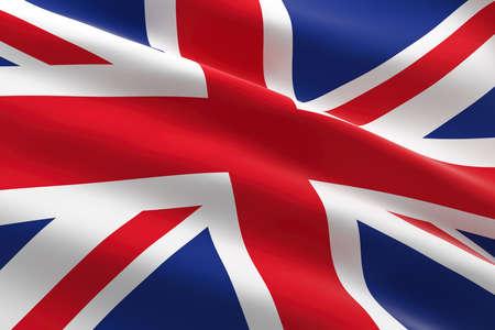 Flag of United Kingdom. 3d illustration of the UK flag waving.