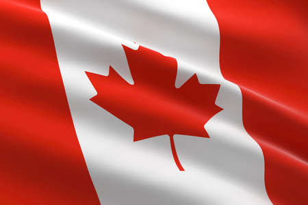 Flag of Canada. 3d illustration of the Canadian flag waving. 스톡 콘텐츠