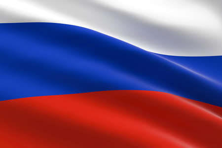 Flag of Russia. 3d illustration of the Russian flag waving.