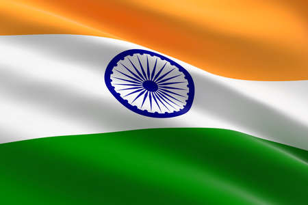 Flag of India. 3d illustration of the Indian flag waving.