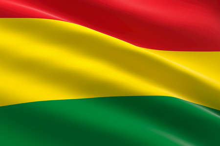 Flag of Bolivia. 3d illustration of the bolivian flag waving. 스톡 콘텐츠