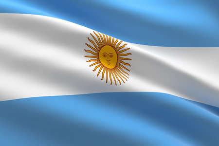 Flag of Argentina. 3d illustration of the argentinian flag waving.
