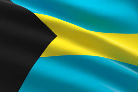 Flag of Bahamas. 3d illustration of the bahamian flag waving.