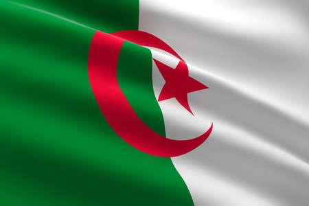 Flag of Algeria. 3d illustration of the algerian flag waving.