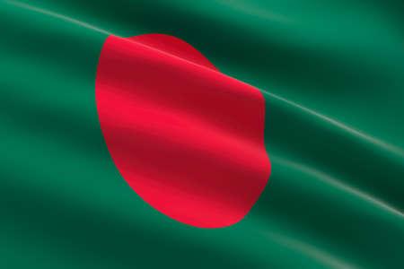 Flag of Bangladesh. 3d illustration of the bangladeshi flag waving.