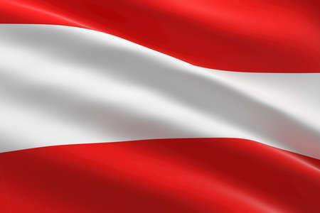 Flag of Austria. 3d illustration of the austrian flag waving. 스톡 콘텐츠