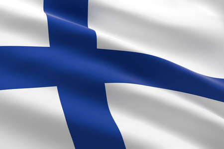 Flag of Finland. 3d illustration of the finnish flag waving. Stock Photo